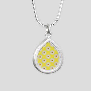 Daisy Flower Pattern Yel Silver Teardrop Necklace