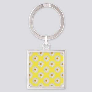 Daisy Flower Pattern Yellow Square Keychain