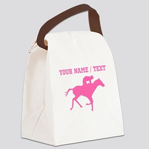 Pink Horse Racing Silhouette (Custom) Canvas Lunch