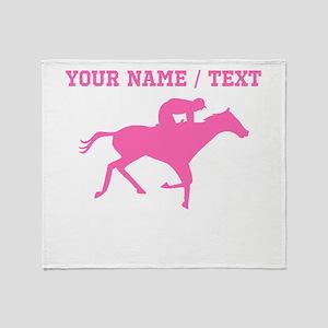 Pink Horse Racing Silhouette (Custom) Throw Blanke