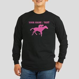 Pink Horse Racing Silhouette (Custom) Long Sleeve