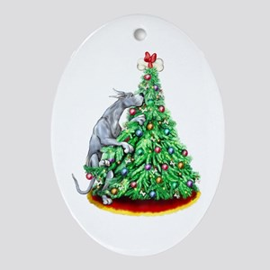 Great Dane Reach Goals Blue Oval Ornament
