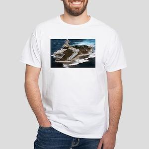 USS Kennedy Ship's Image White T-Shirt