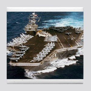 USS Kennedy Ship's Image Tile Coaster