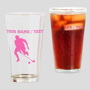 Pink Field Hockey Player Silhouette (Custom) Drink