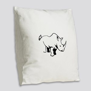 RHINO OUTLINE Burlap Throw Pillow