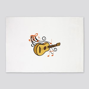 ACOUSTIC GUITAR AND MUSIC 5'x7'Area Rug