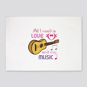 LOVE AND MUSIC 5'x7'Area Rug