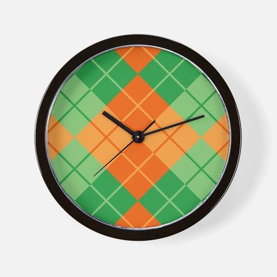 Green-Orange Argyle Wall Clock