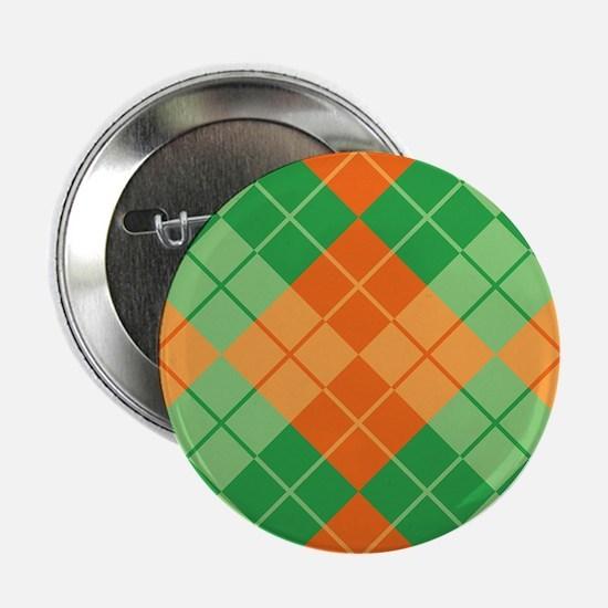 "Green-Orange Argyle 2.25"" Button"