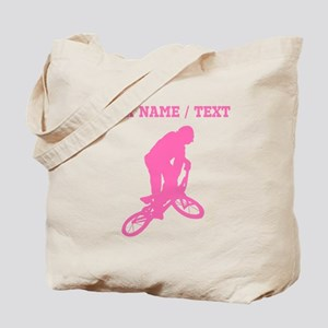 Pink BMX Biker Silhouette (Custom) Tote Bag