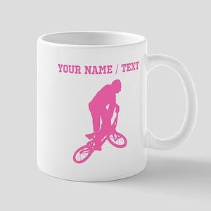 Pink BMX Biker Silhouette (Custom) Mugs