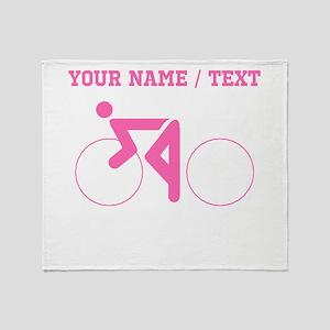 Pink Cycling (Custom) Throw Blanket