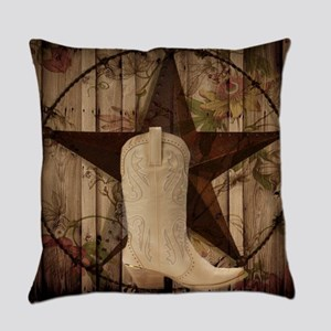 cowboy boots western country barn Everyday Pillow