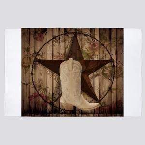 cowboy boots western country barn wood 4' x 6' Rug