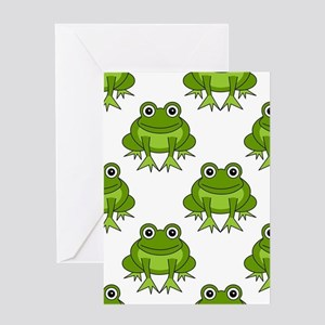 Cute Happy Frog Pattern Greeting Card