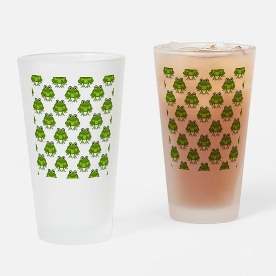 Cute Happy Frog Pattern Drinking Glass