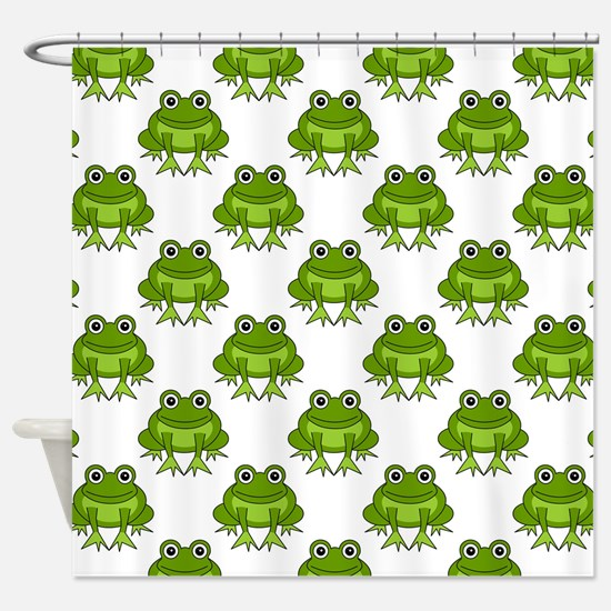 Cute Happy Frog Pattern Shower Curtain