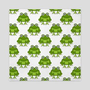 Cute Happy Frog Pattern Queen Duvet