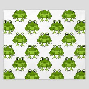 Cute Happy Frog Pattern King Duvet