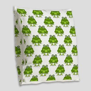 Cute Happy Frog Pattern Burlap Throw Pillow