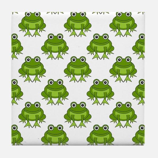 Cute Happy Frog Pattern Tile Coaster