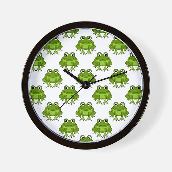 Cute Happy Frog Pattern Wall Clock