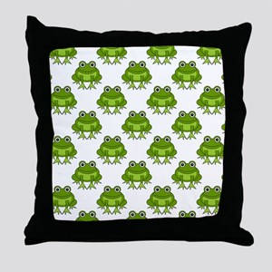 Cute Happy Frog Pattern Throw Pillow