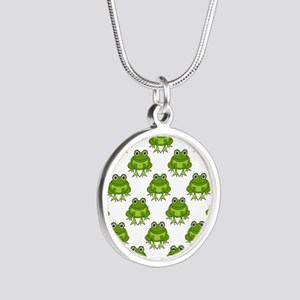 Cute Happy Frog Pattern Silver Round Necklace