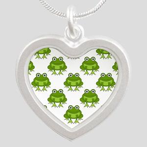 Cute Happy Frog Pattern Silver Heart Necklace