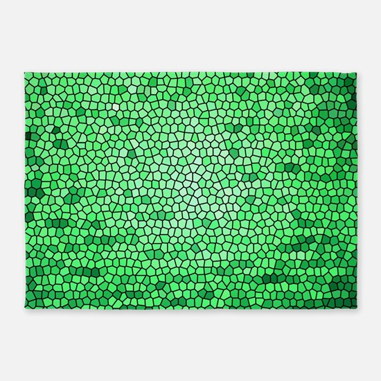 Green color stained glass pattern 5'x7'Area Rug