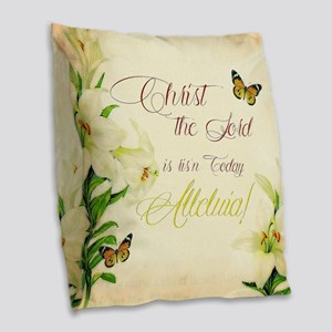 Christ the Lord is ris'n today Burlap Throw Pillow