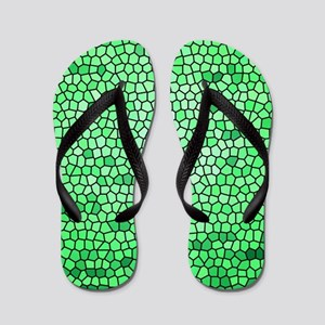 Green color stained glass pattern Flip Flops