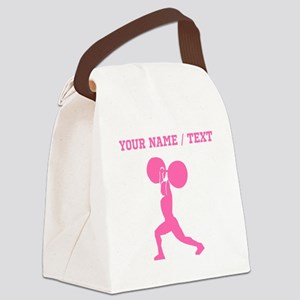 Pink Weightlifter (Custom) Canvas Lunch Bag