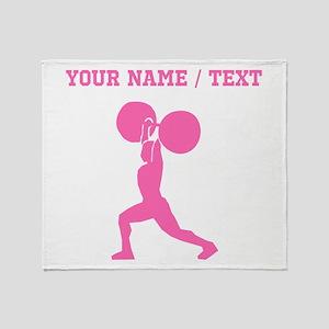 Pink Weightlifter (Custom) Throw Blanket