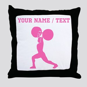 Pink Weightlifter (Custom) Throw Pillow