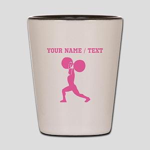 Pink Weightlifter (Custom) Shot Glass