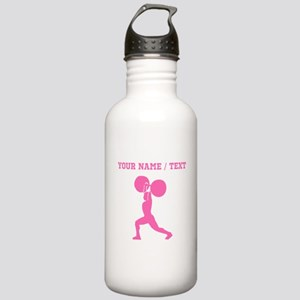 Pink Weightlifter (Custom) Water Bottle