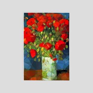 Van Gogh Red Poppies Floral 4' X 6' Rug