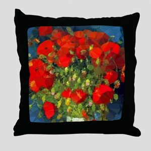 Van Gogh Red Poppies Floral Throw Pillow