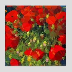Van Gogh Red Poppies Floral Tile Coaster