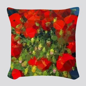 Van Gogh Red Poppies Floral Woven Throw Pillow