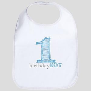 First Modern Birthday In Blue Bib