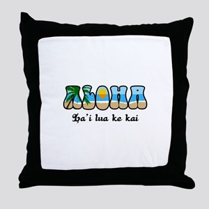 THE SEA IS CALM AND PEACEFUL Throw Pillow