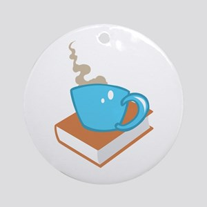 HOT COFFEE ON BOOK Ornament (Round)