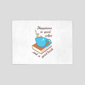 GOOD COFFEE GOOD BOOK 5'x7'Area Rug