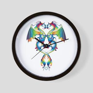 Rainbow Love Dragons Wall Clock