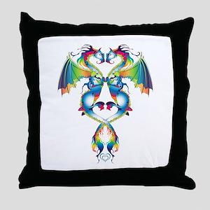 Rainbow Love Dragons Throw Pillow