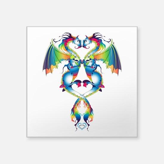"Rainbow Love Dragons Square Sticker 3"" x 3"""