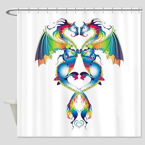 Rainbow Love Dragons Shower Curtain